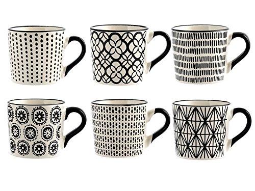 H&H Vhera Set 6 Tazze Tè, Stoneware, Bianco/Nero, 220 ml