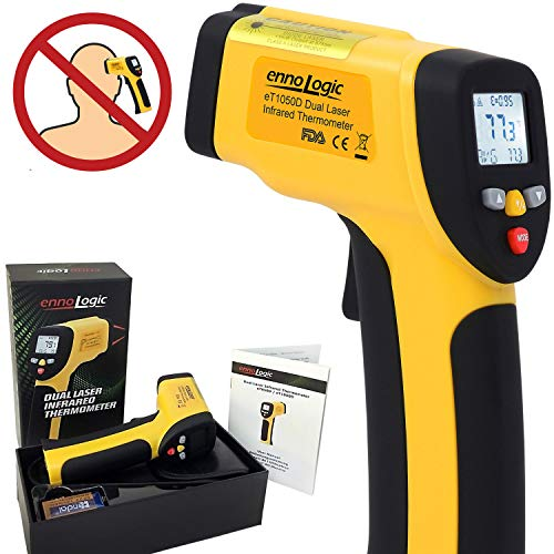 ennoLogic Temperature Gun (NOT for Human) - Dual Laser Non-Contact Infrared Thermometer -58°F to 1202°F - NIST Option Available - Accurate Digital Surface IR Thermometer eT650D