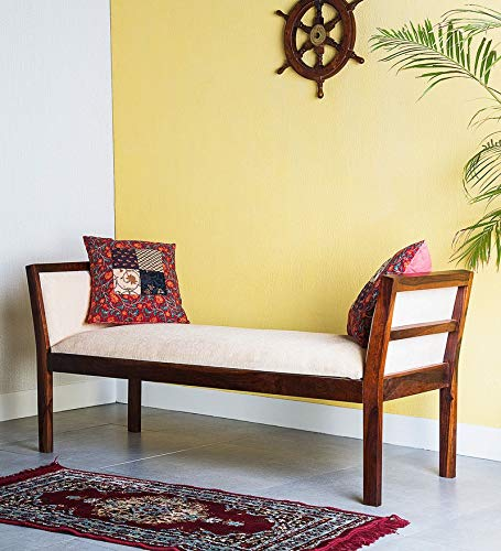 Shagun Arts Sheesham Wood Bench for Living Room | Hallway & Balcony Furniture | 2 Seater Dining Bench | | Brown Finish