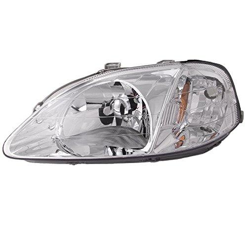 HEADLIGHTSDEPOT Chrome Housing Halogen Headlight Compatible With Honda Civic 1999-2000 Sedan/Hatchback/Coupe Includes Left Driver Side Headlamp