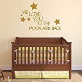 Ajcwhml Niños Nursery Wall Decal Quotes We Love You To The Moon and Back Wall Stickers For Kids Rooms Dormitorio Decoración Interior Mural 108x74cm