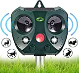 Solar Ultrasonic Animal Repellent Outdoor- Garden Deer Away Repeller for Trees, Solar Powered Motion Sensor Activated Rodent Deterrent Anti Squirrel, Cat, Rabbit - Racoon, Skunk Device