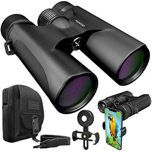 Stellax ZoomX Binoculars for Adults 10x42 Waterproof Lightweight Compact Binocular Prism BAK4 FMC Lens HD Binoculars for Bird Watching Hunting Traveling with Smartphone Adapter Carrying Bag Black