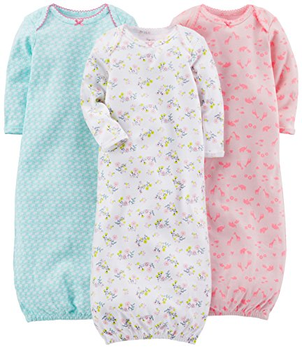 Simple Joys by Carter's Baby Girls' 3-Pack Cotton Sleeper Gown,...