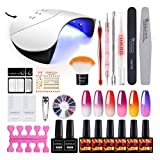 6pcs Color Changing Nail Polish Kit Gel Nail Polish with Uv Light 36W Nail Lamp Dryer Temperature Change Gel Polish Soak Off Top Base Coat Set Nail Art Tools Decorations Starter Kits