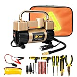 iKer Portable Air Compressor Pump Heavy Duty Tire Inflator for Car,Truck,SUV Tires,12V 70L/Min Double Cylinders Metal Air Pump 150PSI with Battery Clamp,11.5ft Extension Air Hose and Tire Repair Kit