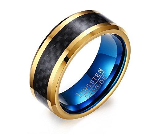 vnox 8mm Hombre de carburo de tungsteno Anillo de compromiso chapado en oro negro azul tamaño 7–12