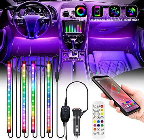 Luci Interne per Auto Striscia Led Rgb Con App e Telecomando Multicolore Impermeabile di Illuminazione e Decorazione di Sincronizzazione Musicale 12V