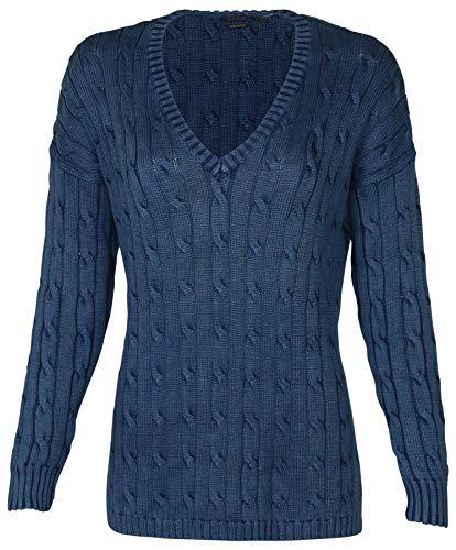 Polo Ralph Lauren Womens Sweater Cable Knit Split Hem V Neck (XL, Blue)