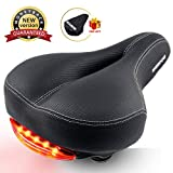 SGODDE Comfortable Bike Seat for Men Women, Wide Bicycle Saddle Cushion with Taillight, Memory Foam Padded Dual Shock Absorbing Universal Fit for Road Bike and Mountain Bike with Waterproof Cover