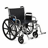 Medline MDS806900 Excel Extra-Wide Bariatric Wheelchair, 24' Wide Seat, Desk-Length Removable Arms, Swing Away Footrests, Chrome Frame