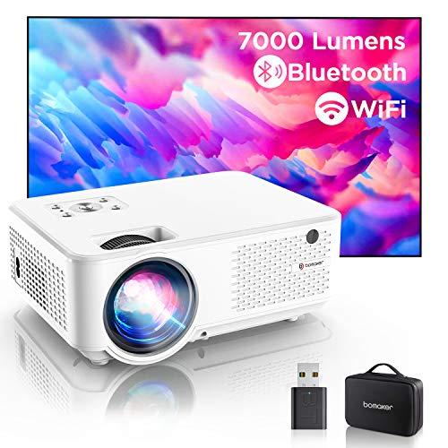 """Bomaker Videoprojecteur, 7000 Full HD 1080P et 300"""" Soutien, 800P Natif Vidéoprojecteur WiFi Portable, Projecteur pour cinéma Maison, Compatible avec Telephones/PC/TV Stick/PS4/Chromecast - C9"""