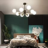 NEWSEE Sputnik Chandelier Modern 8-Light Glass Gold Globes Classic Mid Century Pendant Lighting Fixture Living Dining Room