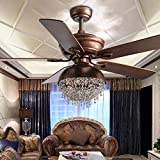 52' 3-lights Ceiling Fan Fixtures Fandelier Fan with Lights and Remote Control Vintage Fans Chandelier Rustic Farmhouse Ceiling Fan for Bedroom Living Room Dining Room Kitchen