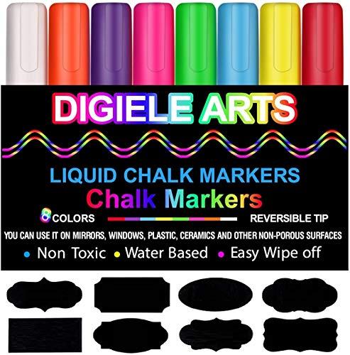 Pennarelli Gesso Liquido di DIGIELE, 8 Colori Assortiti Brillanti con 32 nero etichette adesive,...
