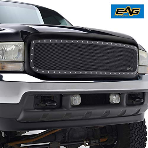 EAG Rivet Mesh Grille Stainless Steel Replacement with Shell Fit for 99-04 Super Duty F250 F350 F450 F550