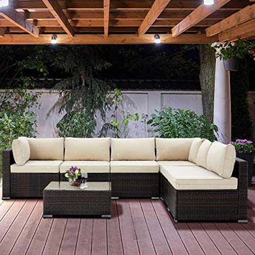 U-MAX 7 Pieces Patio PE Rattan Wicker Sofa Set Outdoor Sectional Furniture Conversation Chair Set with Cushions and Tea Table Brown