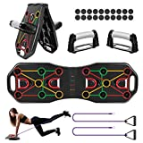 Fostoy Push Up Board, 9 en 1 Pliable Planche de Musculation Multifonctionnelles Push Up Rack Board avec Bandes Résistance et Poignées pour Homme Femme Fitness à Domicile