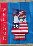 Snoopy Peanuts Welcome Patriotic American Flag 14x18 inches Garden Flag