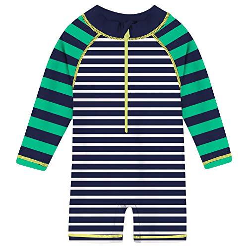 Funnycokid Sun Protective Baby Swimsuit Green Striped Infant Boy Zipper Rash Guard Swimwear UPF 50+ 6-12 Months