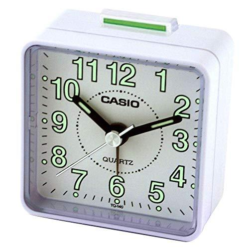 Casio TQ-140-7EF Réveil Quartz Analogique Alarme, Blanc