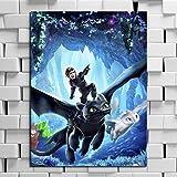 wZUN Lienzo Pintura al óleo Impresiones decoración del hogar película cómo Entrenar dragón Pared Arte Imagen Cartel 60x85cm Sin Marco