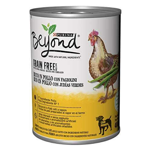 Purina Beyond Húmedo - Comida para Perro Grain Free de paté con Pollo y judías, 12 latas de 400 g Cada uno, Paquete de 12 x 400 g