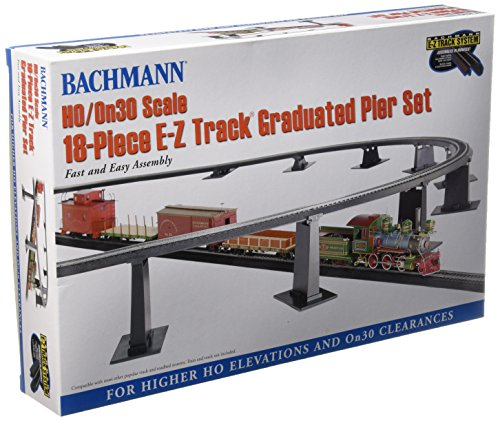 Bachmann-Trains-18-PC-E-Z-TRACK-GRADUATED-PIER-SET-For-Use-with-HO-or-On30-Scale-E-Z-Track