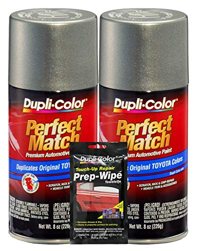 Dupli-Color Phantom Grey Pearl Exact-Match Automotive Paint for Toyota Vehicles - 8 oz, Bundles Prep Wipe (3 Items)