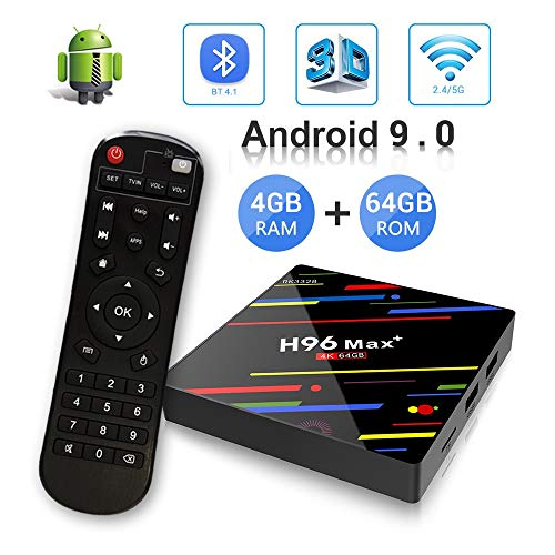 Android 9.0 TV Box , H96 Max Plus 4GB DDR3 64GB ROM RK3328 Quad-Core 64bit CPU, Support 2.4GHz/5GHz Dual WiFi 4K Ultra HD H.265 USB3.0 BT4.0 3D