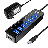 Powered USB Hub 3.0, Atolla 7-Port USB Data Hub Splitter with One Smart Charging Port and Individual On/Off Switches and 5V/4A Power Adapter USB Extension for MacBook, Mac Pro/Mini and More.