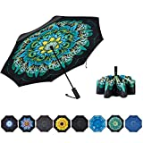 NOORNY Inverted Umbrella Double Layer Automatic Folding Reserve Umbrella Windproof UV Protection for Rain Car Travel Outdoor Men Women Peacock Ling