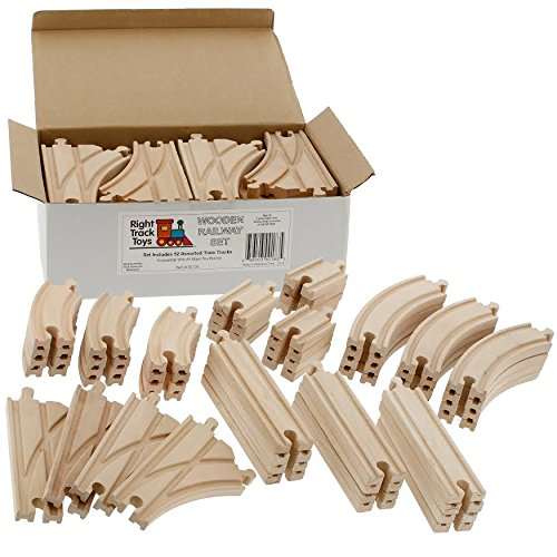 Wooden Train Track 52 Piece Set - 18 Feet Of Track Expansion And 5 Distinct Pieces - 100% Compatible with All Major Brands Including Thomas Wooden Railway System - by Right Track Toys