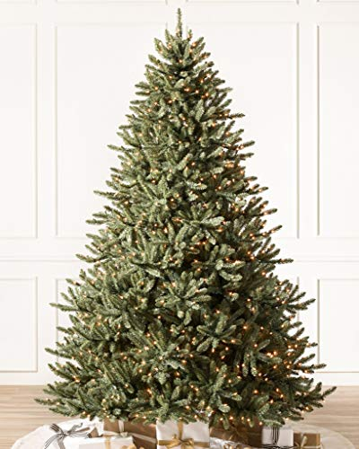 Balsam Hill 9ft Premium Pre-Lit Artificial Christmas Tree Classic Blue Spruce with Clear LED Lights, Storage Bag, and Fluffing Gloves
