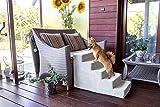BoutiqueZOO Hundetreppe 50 cm hoch | Katzentreppe Haustiertreppe | 5 Stufen | Hunde Katzen Haustier | für Bett und Auto | Trepp für kleine Hund | Plüschbezug | Farbe: Grau