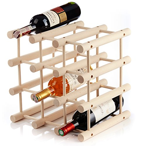 In legno autoportante controsoffitto cantinetta per 12bottigliemodulare espandibile personalizzare come necessaripratico per cucina o bar a casa Natural Wood