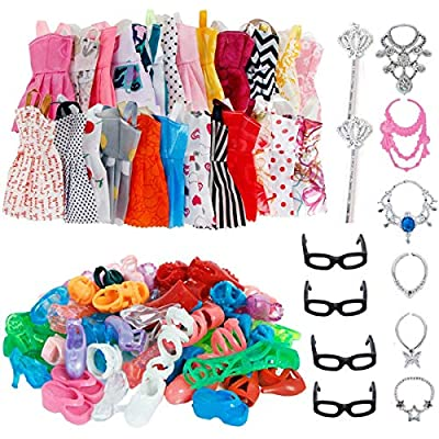 "Bunch of Dressing fun. Kids will busy in dressing clothes, shoes for barbie. Fit For Barbie Doll and other 11.0""-12"" Doll ( 28CM-30CM doll ). Color and style will be sent in random. We will update dresses style requently. Packed in cute bag. It is go..."