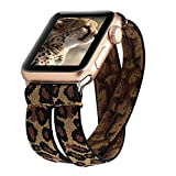 YOSWAN Stretchy Loop Strap Compatible for Apple Watch Band 40mm 38mm 44mm 42mm iWatch Series 5/4/3/2/1 Stretch Elastics Wristbelt (Double Tour Cheetah, 38mm/40mm)