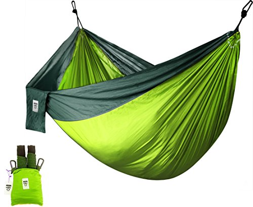 Utopia Home Supreme Nylon Hammock- Supports Up to Two People or 400 LBS - Porch, Backyard, Indoor, Camping - Durable, Ultralight Material - Includes Hanging Straps (Green)