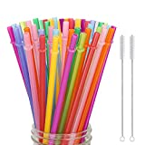 Hiware 52 Pcs Reusable Plastic Straws for Tumbler, Mason Jars, Cupture/Maars Acrylic, YETI/RTIC, Starbucks, Tervis, - 10.25' Extra Long 10 Colors Replacement Drinking Straws with 2 Cleaning Brushes