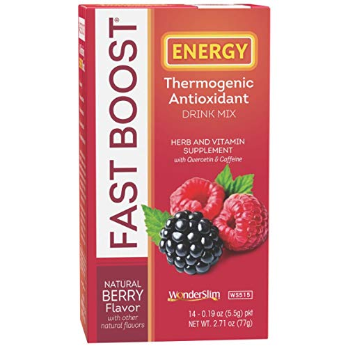 FAST BOOST Energy Boosting Powder Drink Mix by WonderSlim - Antioxidant Drink Mix - With Green Tea, Ginseng, Quercetin and Gingko Biloba – Natural Berry Flavor - 6 Boxes (Save 15%) 1