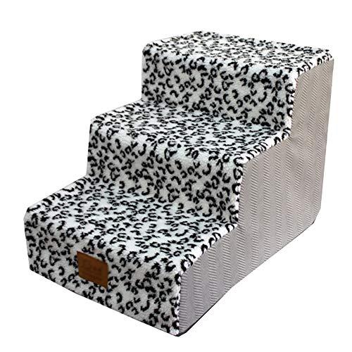 WGE Scale e gradini per Cani Pet Scale Passi Cani con Non Skid Fondo, Pelle di Leopardo 3 Passi...