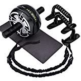 CATOOM Ab Roller Wheel, 4-in-1 Ab Roller Kit, With Push Up Bars, Resistance Bands and Knee Pad,Home Workout Equipment for Men Women,Exercise & Fitness Home Gyms