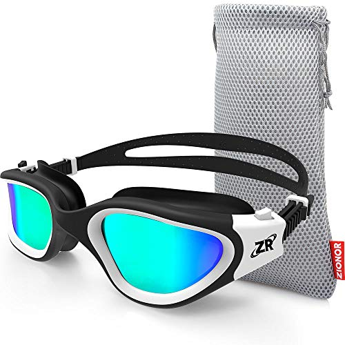 Swimming Goggles, ZIONOR G1 Polarized Swim Goggles UV Protection Watertight Anti-fog Adjustable Strap Comfort fit for Unisex Adult Men and Women (Polarized Gold Lens White Frame)