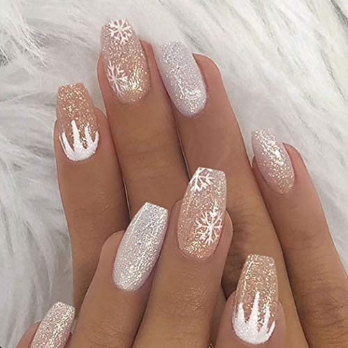 Aceorna Coffin Press on Nails Nude White Fake Nails Snowflake Full Cover Acrylic Nail Christmas False Nails for Women and Girls 24PCS