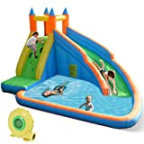 Costzon Inflatable Slide Bouncer, Water Pool with Long Slide, Climbing...