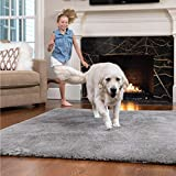 GORILLA GRIP Original Faux-Chinchilla Area Rug 7.5x10 FT, Many Colors, Soft and Cozy High Pile Washable Kids Carpet, Floor Rugs, Luxury Shaggy Carpets for Home, Nursery, Bed and Living Room, Dark Gray