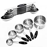 Warmheart Measuring Cups and Magnetic Measuring Spoons Set, Stainless Steel 5 Cups and 7 Spoons and 1 Levele (13 Measuring Cups Set)