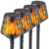 U-misss 4PCs Solar Torch Lights, 35.5 inch 117 LED, Waterproof Landscape Garden Pathway Light with Vivid Dancing Flickering Flames, with Auto On/Off Dusk to Dawn