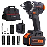 Cordless Impact Wrench - GOXAWEE 20V Electric Impact Driver (4.0Ah Battery, Brushless Motor, 1/2 & 1/4 Inch Quick Chuck, 2-Speed, Tool Bag) - High Torque Impact Kit for Home & DIY Project